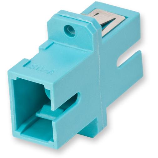 Corning  Fiber Optic Full-Flange Ceramic Sleeve SC Simplex Adapter, Aqua (Package of 50)