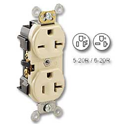 Leviton Dual voltage Back and Side Wired 20Amp 125V & 20Amp 250V Grounding