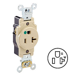 Leviton Back and Side Wired Single Receptacle