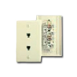 Leviton Type 625B3 Duplex Wall Jack, 6-Position, 4-Conductor, Midway Plate