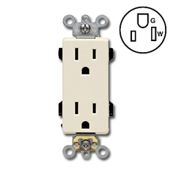 Leviton Duplex Back and Side Wired, Self-Grounding NEMA 5-15R