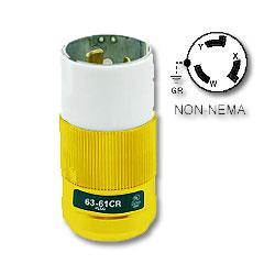 Leviton 50 AMP 125/250V Locking Plug, Yellow Nylon Body and Cord Clamp
