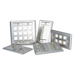 Leviton QuickPort Stainless Steel Wallplate with Designation Window