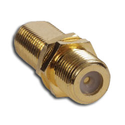 Hubbell Bulk Connector, F-Connector F/F Coupler, Gold/Nickel, 3/8