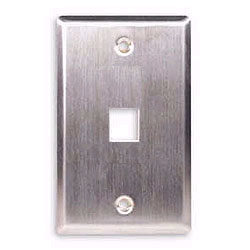 ICC Flush Mount Single Gang Stainless Steel Faceplate - 1 Port