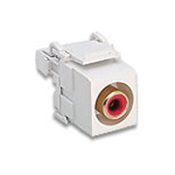Leviton RCA 110-Type QuickPort Audio Connector with Red Barrel