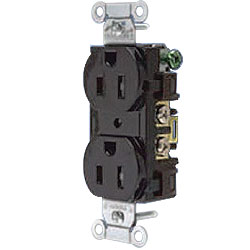 Hubbell Duplex Tamper-Resistant Commercial Side and Back Wired Receptacle, NEMA 5-15R