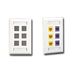 ICC 6 Port Single Gang Faceplate With Station ID