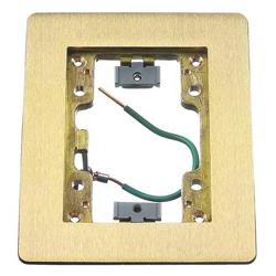 Hubbell Rectangular Flat Flange, 1-Gang, Brass