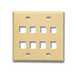 ICC Double Gang Faceplate - 8 Port