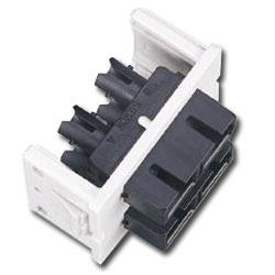 Siemon Flat Fiber Adapter CT Coupler with 2 Duplex ST to Frontside SC Adapter (4 Fibers)