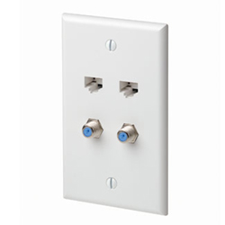 Leviton Quickplate with 2 Data Ports and 2 F-connectors