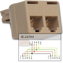 Suttle 4P6C Modular T Adapter