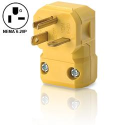 Leviton 20A 250V Industrial Grade NEMA 6-20 Angle Plug