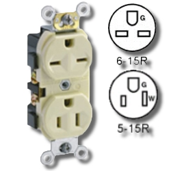 Leviton Dual Voltage Side Wired 15Amp 125V and 15Amp 250V Grounding
