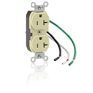 Leviton Side Wired 20A 125V Duplex Receptacle with Pigtail Leads