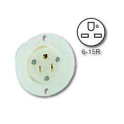 Leviton 15 Amp 250V 2-Pole, 3-Wire Flanged Outlet Receptacle