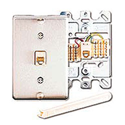 Leviton 6P6C Quick Connect Wall Phone Jack with SS Wallplate