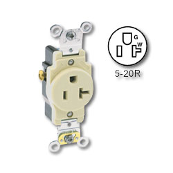 Leviton Side Wired 20A/125v Single Receptacle
