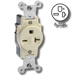 Leviton 20Amp 250V Grounding Single Receptacle