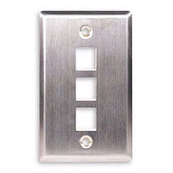 ICC Flush Mount Single Gang Stainless Steel Faceplate-3 Port