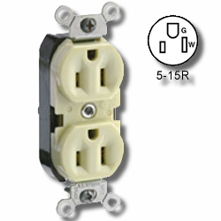 Leviton Side Wired 15Amp 125V Duplex Receptacle with Pigtail Leads