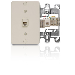 Leviton 6P4C Quick Connect Wall Phone Jack with Plastic Wallplate