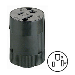 Leviton 15A 125V 2-Pole, 3-Wire Rubber Connector Mates with No. 113 Above