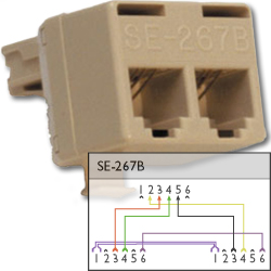 Suttle 6P4C Modular T Adapter