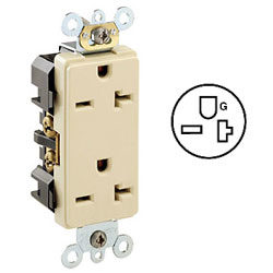Leviton Duplex Back and Side Wired, Self-Grounding NEMA 6-20R