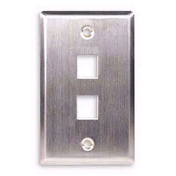 ICC Flush Mount Single Gang Stainless Steel Faceplate - 2 Port