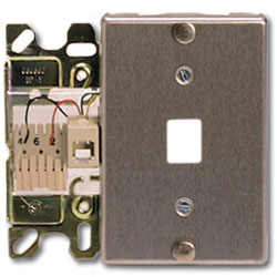 Suttle Stainless Steel 6-Conductor Wallplate with Mounting Lugs, Quick-Connect & Insertion Clips