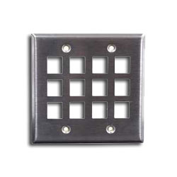 Hubbell 12 Port Double Gang Stainless Steel Faceplate