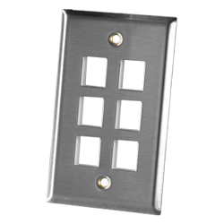 Legrand - Ortronics 6 Port Single Gang Stainless Steel Faceplate