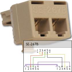 Suttle 6P4C Modular T Adapter