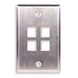 ICC Flush Mount Single Gang Stainless Steel Faceplate-4 Port
