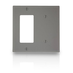 Leviton Commercial Grade Nylon Wallplates 2-Gang 1-Blank 1-Decora