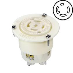 Leviton 30 AMP, 277/480V, Locking Flanged Outlet with Grounding