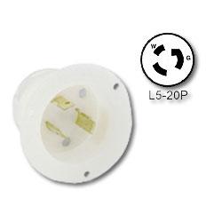 Leviton 20Amp 125V, NEMA L5-20P, Locking Flanged Inlet with Grounding