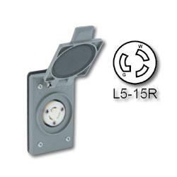 Leviton 15 Amp 125V Power Locking Blade Outlet Receptacle - Industrial Grade (Grounding)