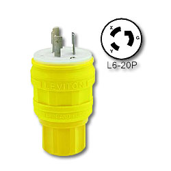 Leviton 20 Amp Wetguard Locking Plug (Grounding)