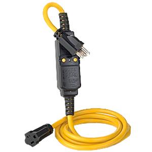 Leviton 15A-120V Automatic Reset GFCI Molded-On NEMA Plug (5-15P) and Connector (5-15R)