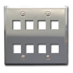 ICC Flush Mount Double Gang Stainless Steel Faceplate-8 Port