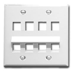 ICC Angled Bottom Double Gang Faceplate, 8 Port