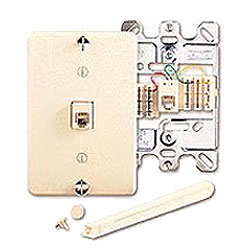 Leviton 6P6C Quick Connect Wall Phone Jack with Plastic Wallplate