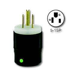 Leviton Lighted Black Nylon Plug 15Amp 125V 2-Pole, 3-Wire Grounding