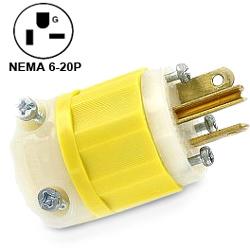Leviton 20Amp 250V 2-Pole, 3-Wire Industrial Grade Plug