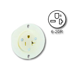 Leviton 20Amp 250V 2-Pole, 3-Wire Industrial Grade Flanged Outlet Connector