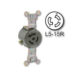 Leviton 15 Amp 125V Single Locking Receptacle - Industrial Grade (Grounding)