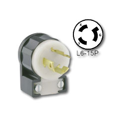 Leviton 15Amp 250 Volt, NEMA L6-15P Locking Angle Plug